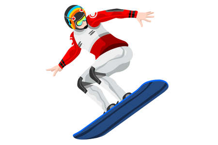 Snowboard jump race snowboarder athlete winter sport icon.