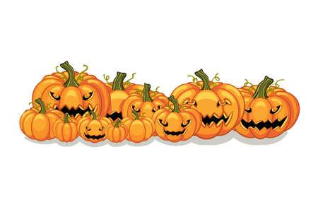 Halloween vector orange pumpkins graphic. Horizontal banner design template for e-commerce market, web site banners or thanksgiving day pattern. Vector pile of orange pumpkins frame border patch.