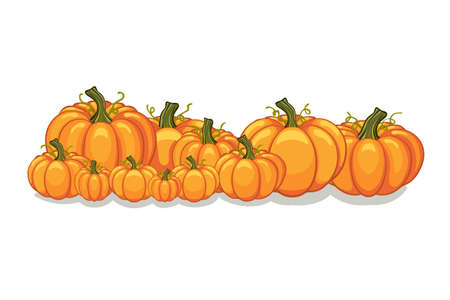 Halloween vector orange pumpkins graphic. Horizontal banner design template for e-commerce market, web site banners or thanksgiving day pattern. Vector pile of orange pumpkins frame border patch.