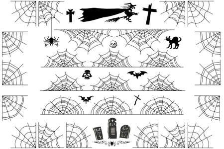 Halloween spiderweb randen en hoeken. Vector spinneweb frame en verdelers geïsoleerd op wit met spinnenweb voor eng ontwerp.