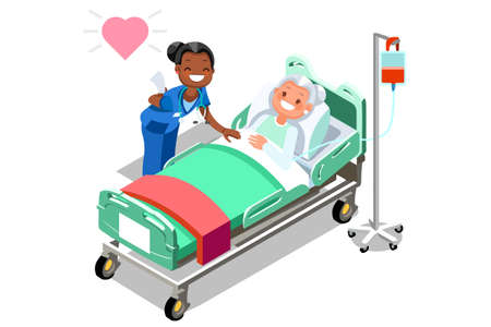 Illustration of a caring nurse with her elderly patient.