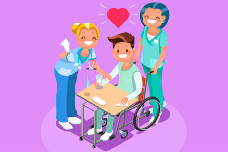 Cartoon style illustration of a man in a wheel chair with nurses.