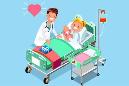 Cartoon stijl illustratie van een pasgeboren baby met haar moeder en de dokter.