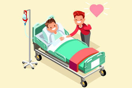 Illustration of a chemotherapy patient with his wife. Stock Illustratie