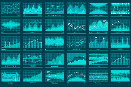 Financial candle stick or line graphs of currency business and market charts set illustration. Illustration
