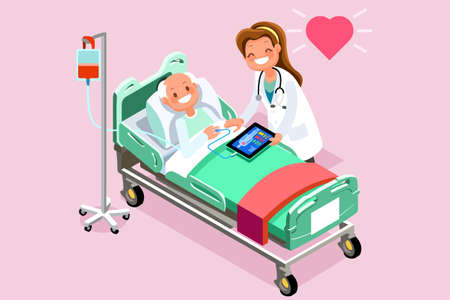 Elderly patient in bed and therapist. 3D flat isometric people in flat style design. Vector illustration Çizim