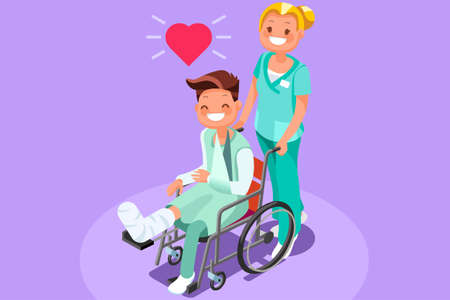 Patient with broken leg and plaster cast. 3D flat isometric people vector medical illustration