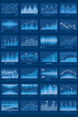 Business data report financial charts. Stock exchange analysis graphics. Growth market trend line vector graphs illustration. Concept of finance information with charts and diagrams. Vettoriali
