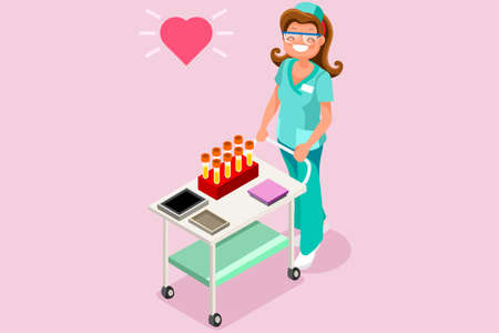 Medical lab worker 3D flat isometric people vector laboratory illustration Illustration