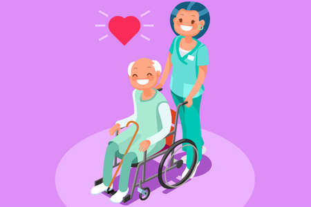 Happy elderly patient in wheelchair at retirement community 3D flat isometric people vector medical illustration Illustration
