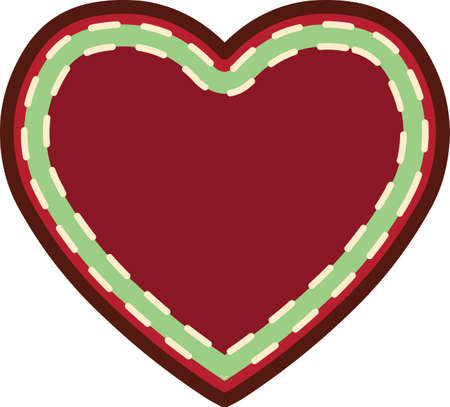 Christmas heart sticker  illustration