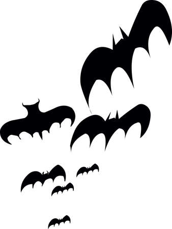 Bats flying in air for Halloween