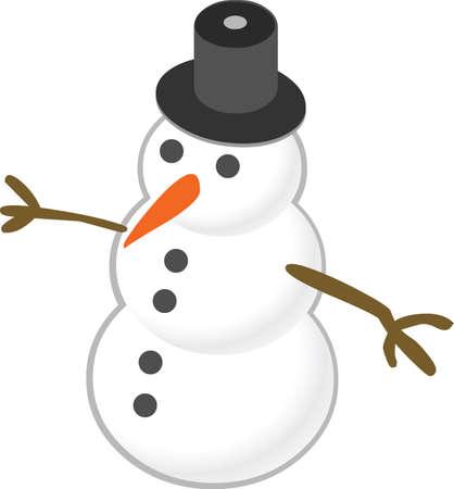 De stickerillustratie van sneeuwmankerstmis