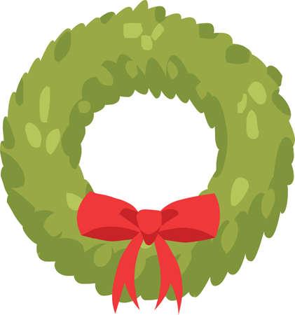 Christmas wreath sticker icon