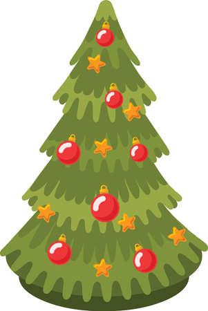 Christmas tree sticker icon Stock Illustratie