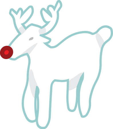 Reindeer Christmas sticker icon Illustration