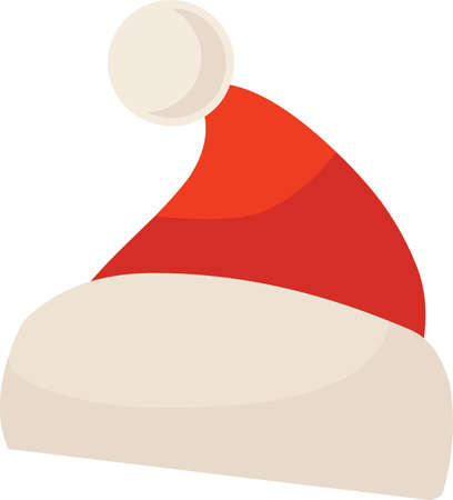 Christmas Santa hat sticker icon on white background, vector illustration. Banco de Imagens - 88615212