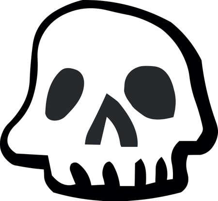頭蓋骨ハロウィン ステッカー アイコン白背景、ベクトル図に。