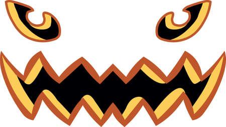 Pumpkin Halloween smile face icon on white background, vector illustration.