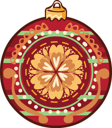 Christmas ball sticker icon on white background, vector illustration. Illustration