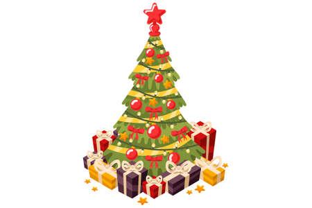 クリスマスツリーとホリデーギフト。星の玉と花輪で飾られたモミの木。フラットスタイルのベクトルイラストレーション