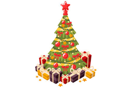 Christmas tree and holiday gifts. Fir-tree decorated with a star balls and garlands. Vector illustration in a flat style