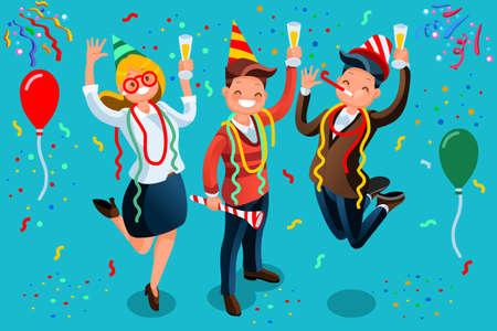 新しい年の bash。パーティーを祝う人々 のベクター イラストです。男性と女性のキャラクターを楽しんで、トーストを食べていると新年や誕生日パ