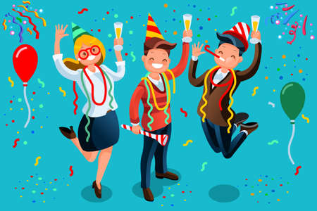 New Year bash. People celebrating party vector illustration. Cool vector flat character design on New Year or Birthday party with male and female characters having fun and having a toast.