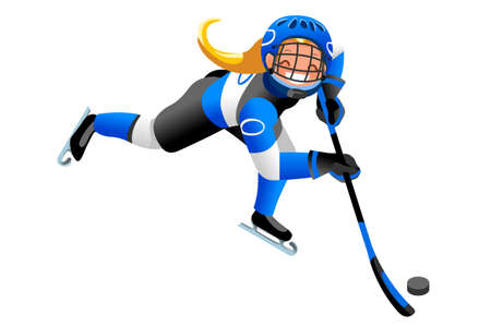 Eishockey Vektor Cartoon Clipart. Wintersporthintergrund mit dem Hockeyathlet, der Winterolympicswettbewerb spielt. 3D flach Isolierte isometrische Menschen Illustration. Standard-Bild - 90816332