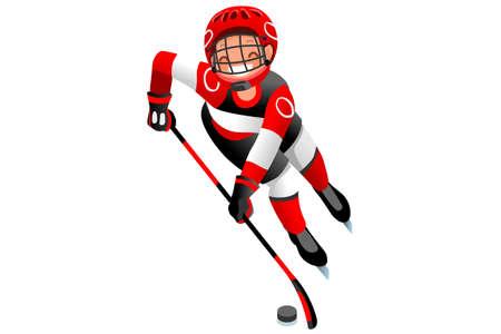 アイスホッケーベクトル漫画クリップアート。冬季オリンピック競技を行うホッケー選手との冬季スポーツの背景。3D フラット分離アイソメトリッ