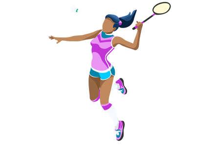 Fille de vecteur de badminton. Contexte sportif avec un athlète de badminton jouant la compétition d'athlétisme. Illustration de personnes isométrique isolé. Banque d'images - 90816338