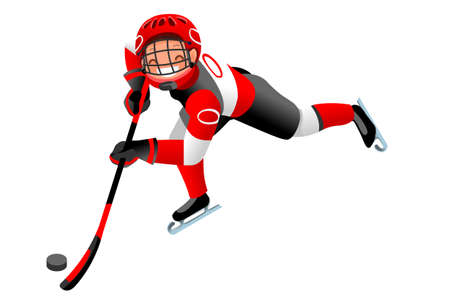 Ice hockey vector cartoon clipart. Winter sports background with hockey athlete playing winter Olympics competition. 3D flat Isolated isometric people illustration. Ilustração