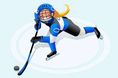 Clipart de dibujos animados de vector de hockey sobre hielo. Fondo de deportes de invierno con el atleta de hockey jugando la competencia de los Juegos Olímpicos de invierno. 3D plana aislada isométrica ilustración de personas. Foto de archivo - 90816340