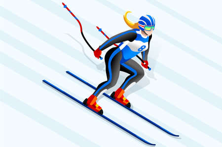 スキークリップアートスキーダウンヒルベクターアスリート。ウィンタースポーツポスター。3D アイソメ人物のイラスト。