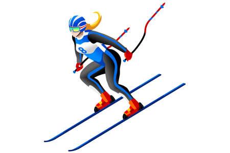 下り坂のベクトル競技スキー スキー アート。冬のスポーツのポスター。3 D アイソ メトリック人々 の図。