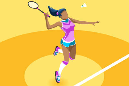Badminton vector girl. Sport background with badminton athlete playing athletics competition. Isolated isometric people illustration.