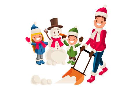 Jeune homme enlève la neige avec une pelle dans la cour pendant que ses enfants jouent dans la neige et font un bonhomme de neige un jour d'hiver neigeux. Illustration de dessin animé isolé
