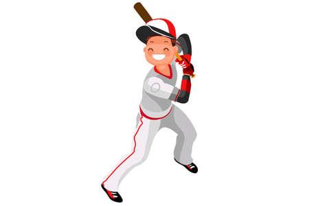 Achtergrond van honkbal met vector mascotte. Sport poster met MLB-speler. 3d vlakke isometrische illustratie van het mensenbeeldverhaal.