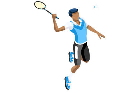 Badminton vector boy. Sports background with badminton athlete playing athletics competition. Isolated isometric people illustration.