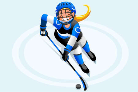Ice hockey vector cartoon clipart. Winter sports background with hockey athlete playing winter Olympics competition. 3D flat Isolated isometric people illustration. Иллюстрация