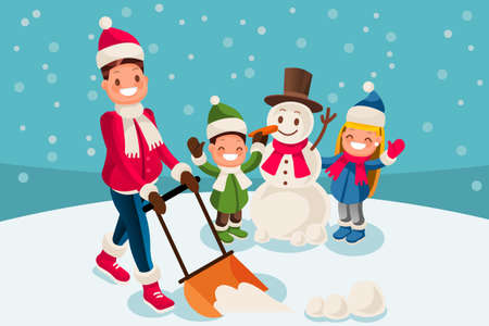 Young man removing snow with a shovel in the yard while his children playing in the snow and making a snowman on a snowy winter day. Vector isolated cartoon illustration.