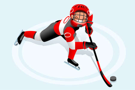 Ice hockey vector cartoon clipart. Winter sports background with hockey athlete playing winter Olympics competition. 3D flat Isolated isometric people illustration. Vettoriali