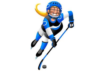 アイスホッケーベクトル漫画クリップアート。冬のスポーツの背景ホッケー選手が冬の競技をプレイ。3D フラット分離アイソメトリック人物図。  イラスト・ベクター素材