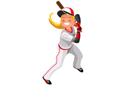 Background of baseball with vector mascotte. Sports poster with MLB player. 3d flat isometric people cartoon illustration.  イラスト・ベクター素材