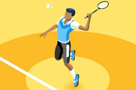 Badminton vector boy. Sport background with badminton athlete playing athletics competition. Isolated isometric people illustration. Çizim