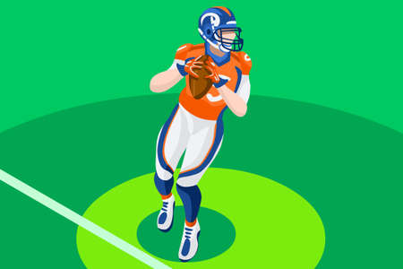Background of american football vector poster. 3D flat american football player. Isometric people cartoon for sport illustration. Illustration