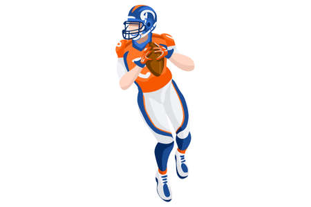 Background of american football vector poster. 3D flat american football player. Isometric people cartoon for sport illustration. Stock Vector - 90817383