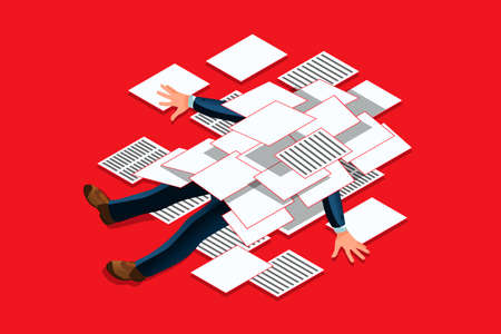 Overwork concept. Accountant under a overloaded paper pile of documents. Businessman flat vector illustration Illustration