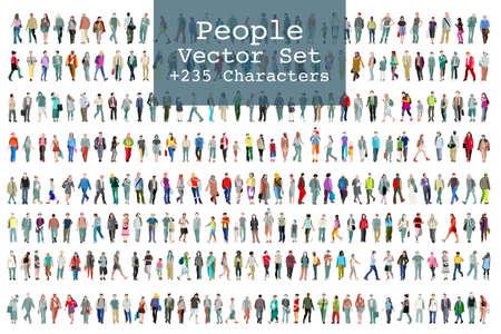 Een vector set geïllustreerde mensen. Meer dan tweehonderd pictogrammen