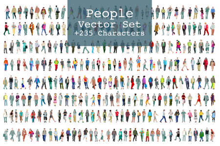 Wektor zestaw ilustrowanych ludzi. Ponad dwieście ikon
